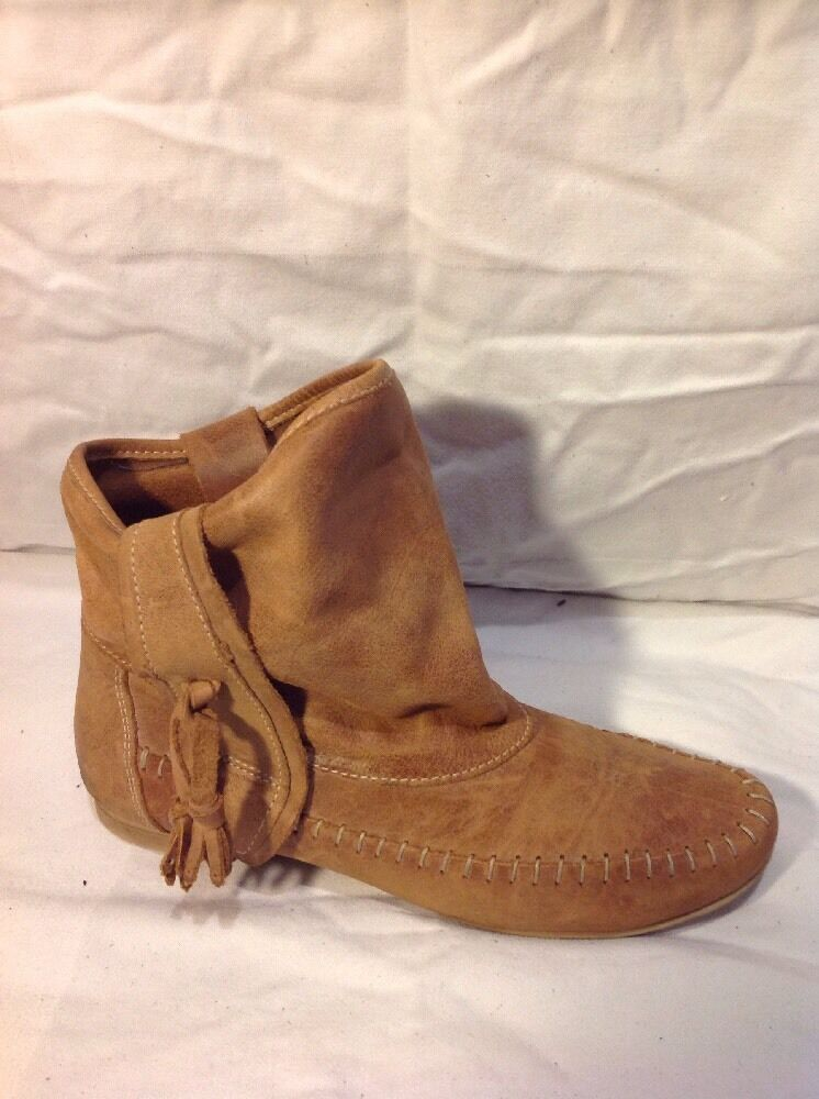 Dune Brown Ankle Leather Boots Size 36