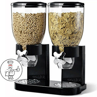 DOUBLE CEREAL DISPENSER DRY FOOD STORAGE CONTAINER DISPENSE MACHINE WHITE BLACK