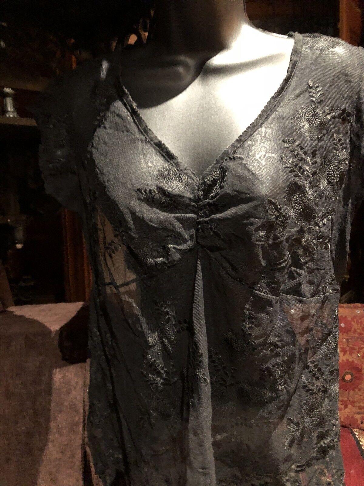 Vintage Sheer Black Lace Gothic Corset Bustier Top - image 1