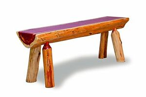 Rustic Red Cedar Log Half Log Bench 4 Ft Long Amish Made In Usa Ebay