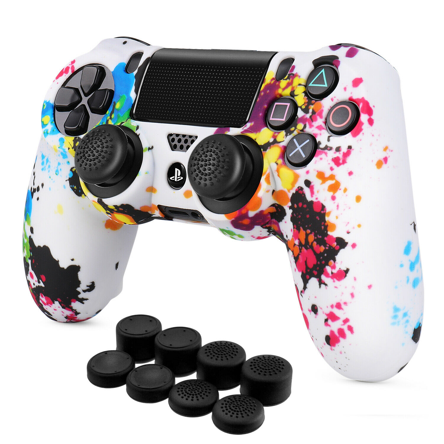PS4 Controller Skin Grip Cover Silicone Gel Rubber Shell w/ Stick Cap, Splash