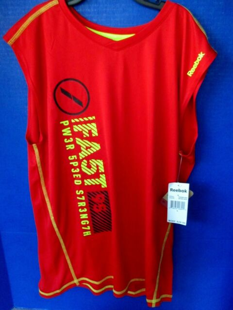 c6db00a45813 REEBOK~Red with Yellow   Black SLEEVELESS ATHLETIC SHIRT~Boys Size Large~NWT