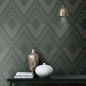Muriva-Alea-Papier-Peint-Charbon-Rose-703042-Geometrique