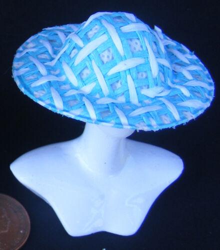 1:12 Escala Azul /& Blanco Paño Damas Sombrero Tumdee Casa de Muñecas Ropa LHD