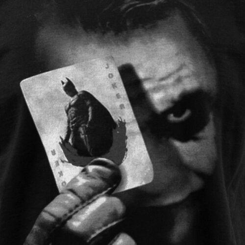 MENS BLACK T SHIRT BATMAN JOKER PLAYING CARDS DARK KNIGHT HEATH LEDGER S-5XL
