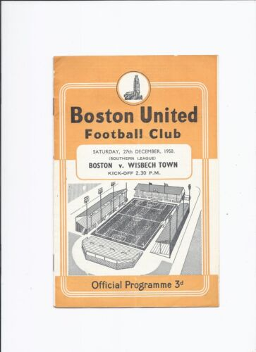 Boston United v Wisbech Town 27 December 1958 Southern League