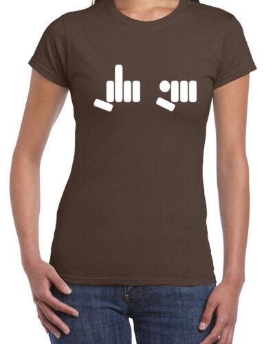 093 FU hand Symbol womens T-shirt middle finger rude vulgar cool curse vintage