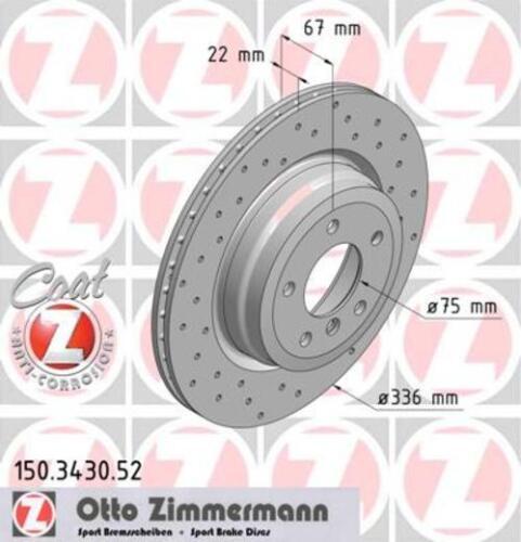 Garnitures de freins complet Set Arrière BMW 3874050 2x Zimmermann Disques De Frein