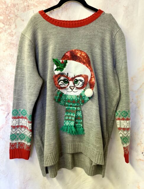 Ugly Christmas Sweater Santa Cat 2XL Holiday Time Knit Holiday Sweater