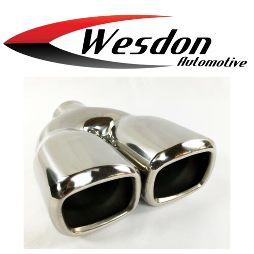 Exhaust Tip 2.25 inlet 6.50 X 2.80 X 9.50 Dual Square Double Wall Stainless