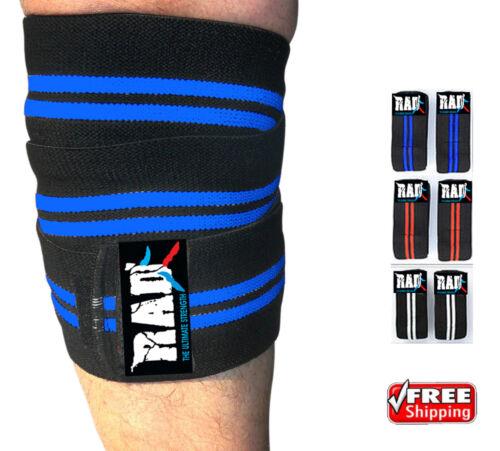 RAD 1 Pair Heavy Duty Knee Wraps For Power-lifting//Bodybuilding,Gym Blue-Black