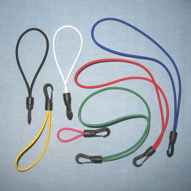 Small Hook & Loop Bungee/Elastic Rope/Shock Cord: Choose Colour and Length