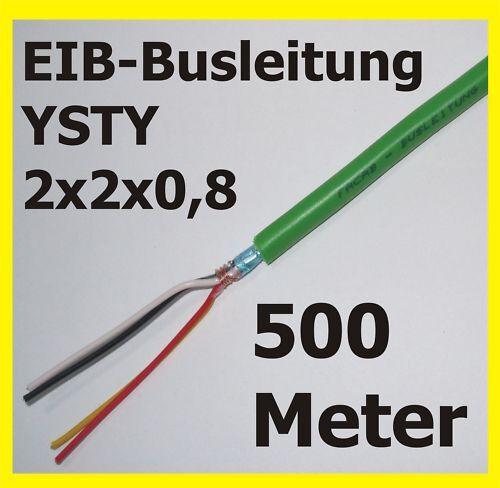 500m EIB-Busleitung EIB-YSTY 2x2x0,8 Kabel KNX-Busleitung Leitung 0,40€//m