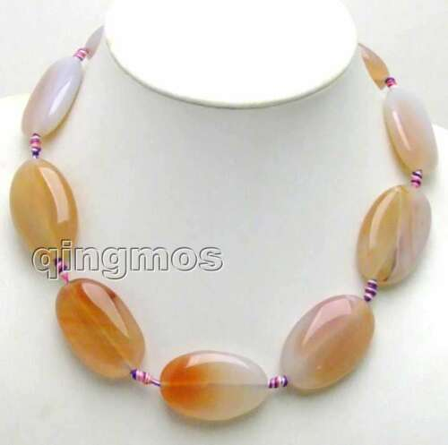 25*40mm Pink Oval Shape Agate Necklace for Woman with Multicolor thread 18/'/'