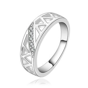 Size O Silver Wedding Ring for Women with rhinestones hollow patterned new FR247