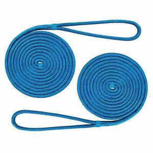 2-Set-of-3-8-Inch-20-FT-Double-Braid-Nylon-Dock-line-Boat-Mooring-Rope-Tow-Rope