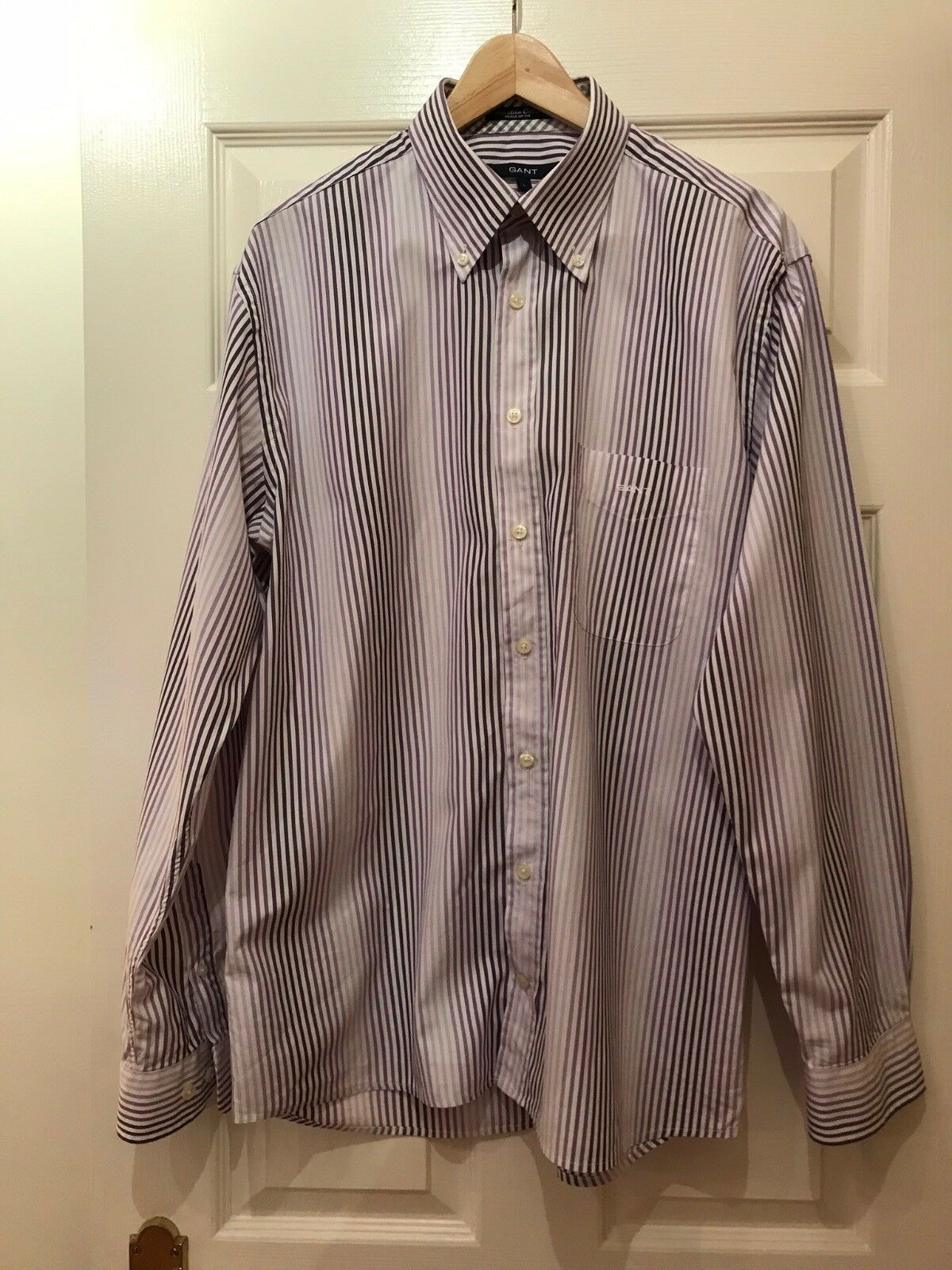 Gant, man striped purple colour shirt, size L.