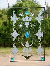 Bleiverglasung Fensterbild Sandstrahlornament Phantasiewappen UV-geklebt