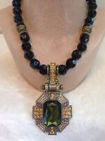 Heidi Daus Estate Elegance Black Bead Crystal Necklace Enhancer Green
