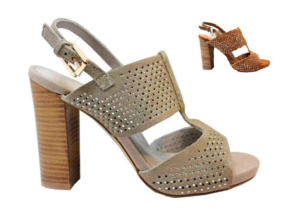 CAFeNOIR MLA656 Cuir et Sable Sandales Hauts Talons Chaussures Femme avec