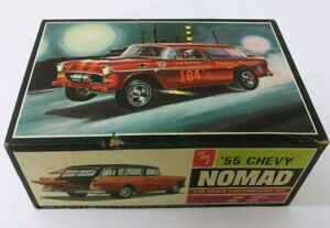 Vintage-AMT-039-55-Chevy-Nomad-1-25-Model-Kit-2555-T-289-225-Partially-Assembled
