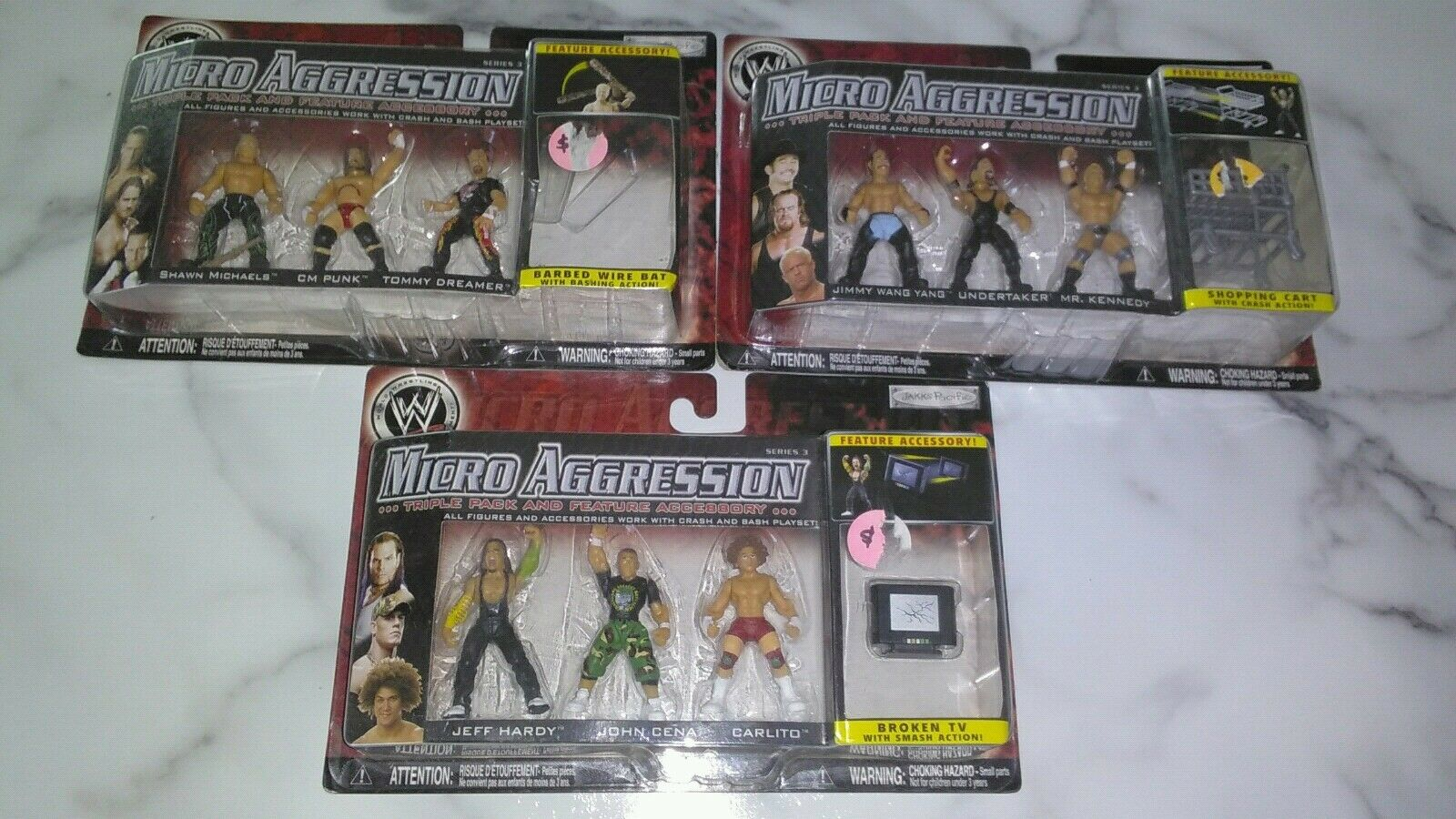 LOT OF 3 NEW JAKKS PACIFIC 2007 Micro Aggression Series (9) Action Figures Total