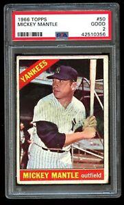 1966-Topps-Mickey-Mantle-50-PSA-2-Good-NY-New-York-Yankees-HOF