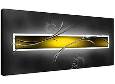 Yellow and Grey Abstract Canvas Pictures (120cm x 50cm) - 1259