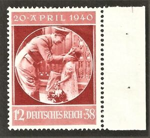 DR-Nazi-3rd-Reich-Rare-WW2-Stamp-Hitler-Uniform-with-Litlle-Girl-Fuhrer-Birthday