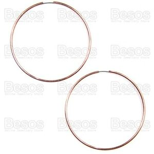 LARGE-rose-gold-tone-70mm-SEAMLESS-HOOPS-polish-hoop-fashion-earrings-UK-GIFT
