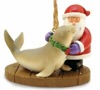 Santa With Holiday Harbor Seal Christmas Ornament