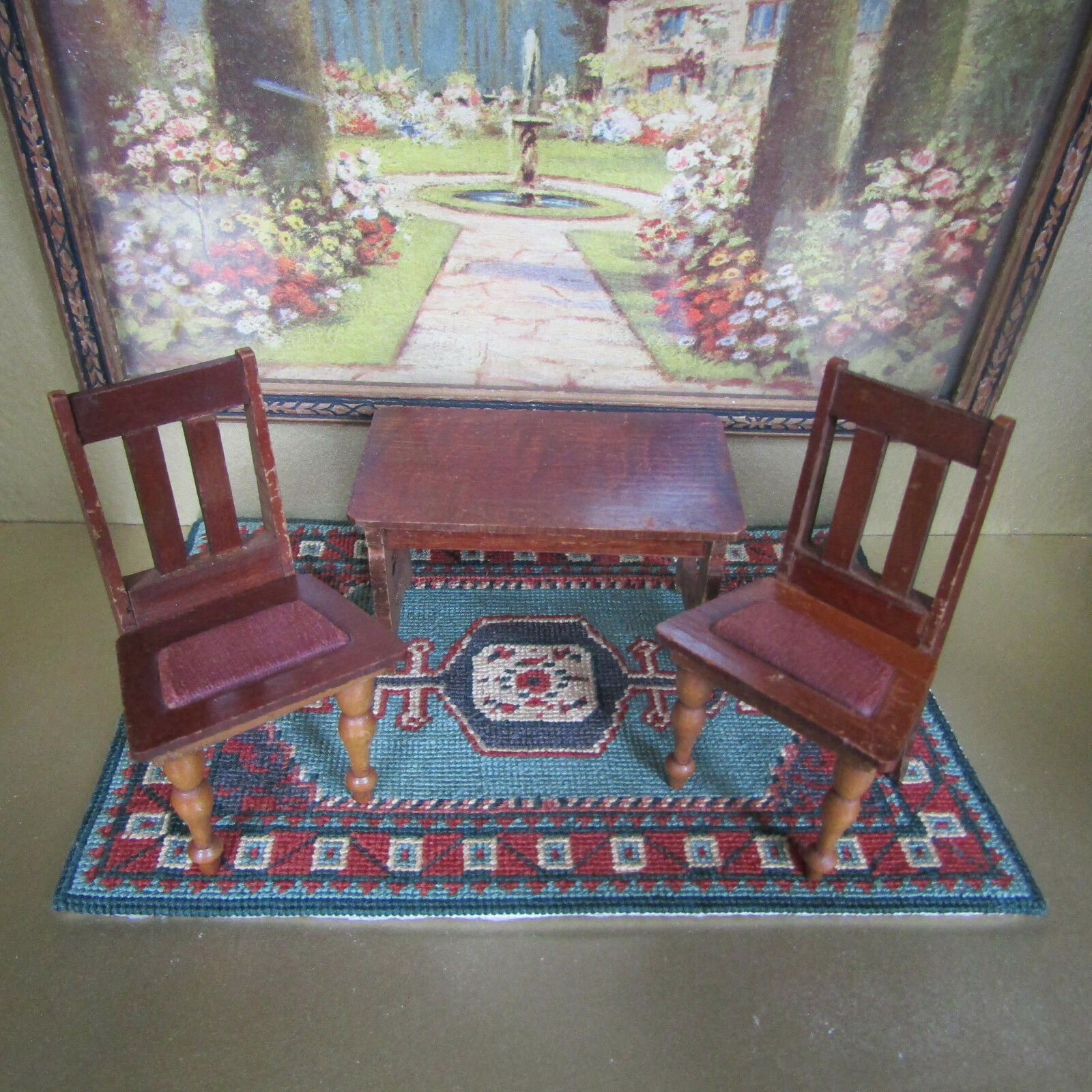 Antique Dollhouse SCHNEEGAS CHAIR TABLE 1800s Victorian Miniature Wood Furniture