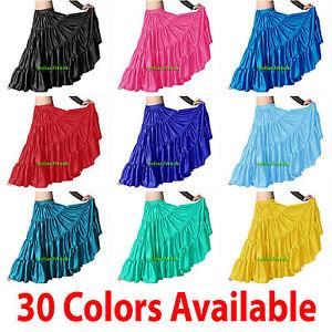 Satin-6-Yard-Tiered-Gypsy-Skirt-Belly-Dance-Tribal-Ruffle-Costume-Jupe-Flamenco
