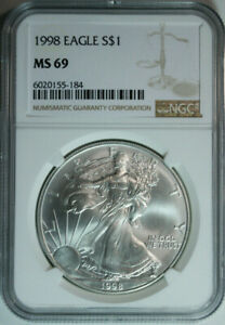1998-Silver-American-Eagle-Dollar-999-Pure-NGC-MS69-Mint-State-69