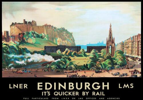 TU87 Vintage Edinburgh LMS LNER Railway Travel Tourism Poster Re-Print A4
