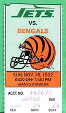 11/15/92 JETS/BENGALS NFL FOOTBALL TICKET STUB