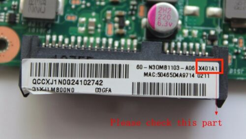 """For ASUS X401A Laptop Motherboard REV2.0 SJTNV HM70 Mainboard 60-N30MB1103 14/"""""""
