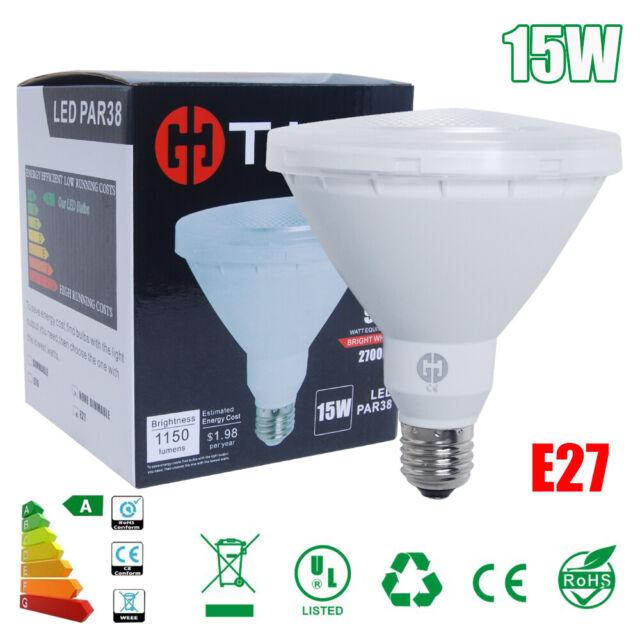 10/5/1x Bombilla Lámpara PAR38 LED E27 15W 2700K Blanco cálido 95W equivalente
