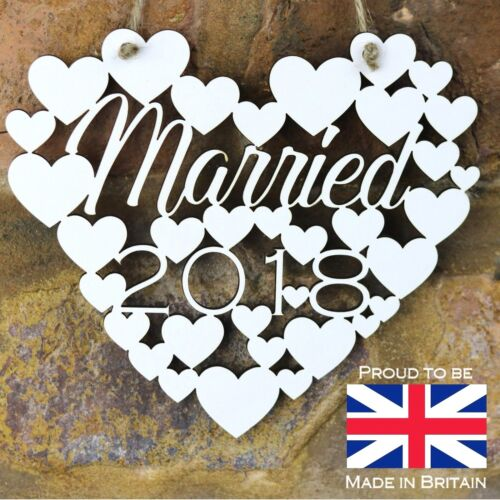 Married 2018 White Love wall hanging heart decoration Wedding gift sign