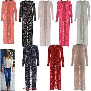 Mujeres-Damas-Sueter-Largo-Encaje-Crochet-Floral-Abierta-Cardigan-novio-Maxi
