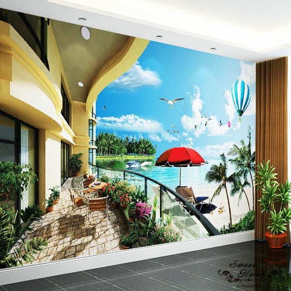 Seaside Balcony Ocean View Full Wall Mural Large Print Decal Wallpaper Home DIY