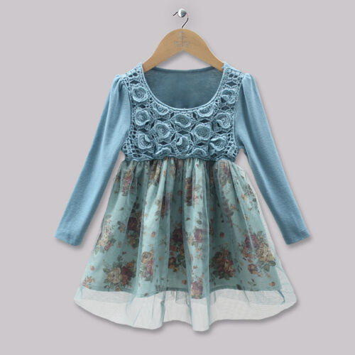 Girls cotton lace tulle long sleeve dress size 1,2,3,4,5