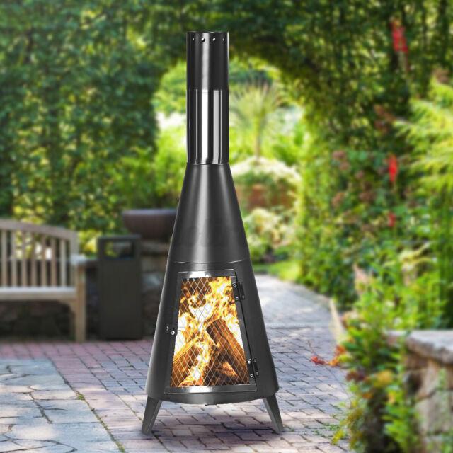 Outdoor Fireplace Steel Chiminea Patio Modern Wood Burner Tall Winter Heater Coz