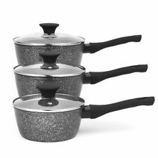 Salter® BW05751 Megastone Non-Stick Saucepan Set | 3 Piece | Metal Utensil Set