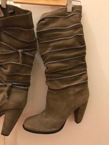 por 4 7 8 5 Detail Venta Mankind Slouchy Boots Zip menor Tamaño 470 Block Heel Rare al S6qw6