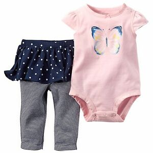 1dca54aa2 Details about Carter's baby girl 2-Piece glitter butterfly pink Bodysuit  dotted Tutu Pant Set