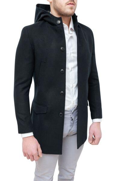 Abrigo Chaqueta De Hombre Diamond De Invierno Negro Slim Fit ÉlÉgant Con Capucha Calidad Primero