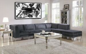 Beau Image Is Loading EXTENDABLE GRAY VELVET MODULAR SOFA SECTIONAL LIVING ROOM