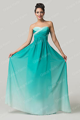 Rainbow Ombre Chiffon Long Evening Dress Bridesmaid Prom Party Gown Formal Dress
