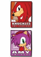 Sonic The Hedgehog Amy And Knuckles Nameplates 2-pack Pvc Pin Set Sega Licensed